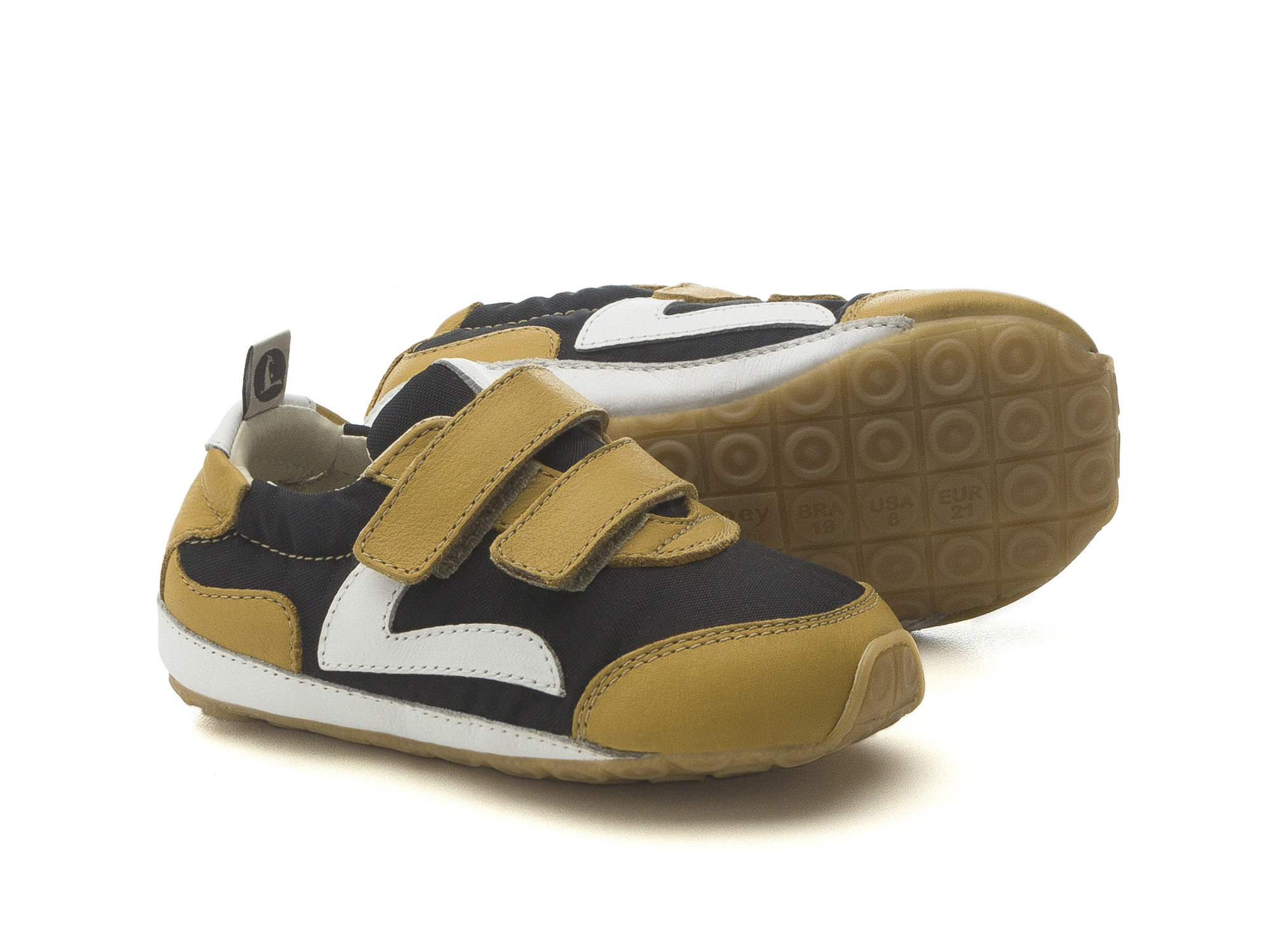 Tênis Jumpy Black Nylon/ Yellow Blur Baby for ages 0 to 2 years - 2